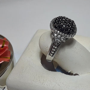 1.0ctw Onyx &CZ Open Scroll Sides 925 Ring #12129